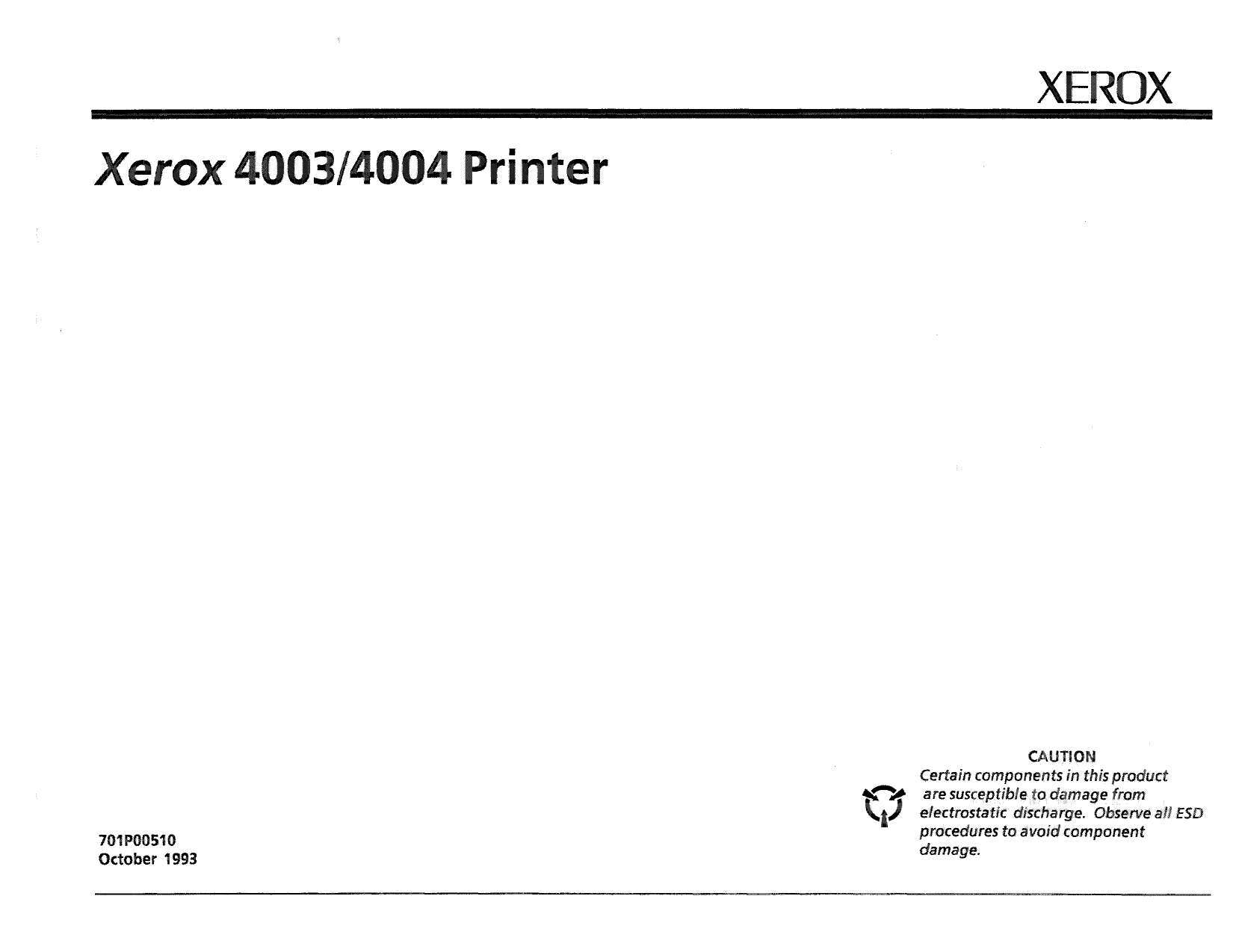 Xerox Printer 4003 4004 Dot-Matrix Printer Parts List and Service Manual-1